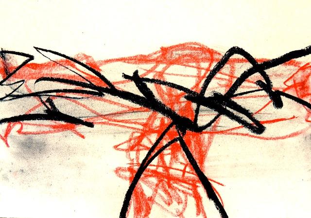 horizon, zeichnung, 40x50cm